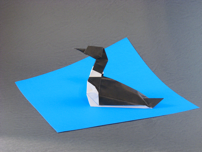 Origami Common loon by John Szinger folded by Gilad Aharoni on giladorigami.com
