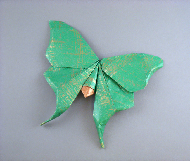Origami American luna moth by Hoang Tien Quyet folded by Gilad Aharoni