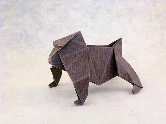 Origami Japanese Macaque By Jun Maekawa Folded From A Square Of Textured Paper Gilad