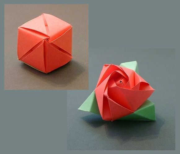 Origami Magic rose cube by Valerie Vann folded by Gilad Aharoni on giladorigami.com