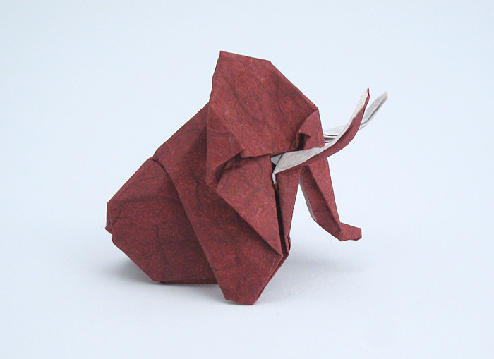 Origami Mammoth by Kunihiko Kasahara Folded from a square of double-sided unryu paper by Gilad Aharoni on giladorigami.com