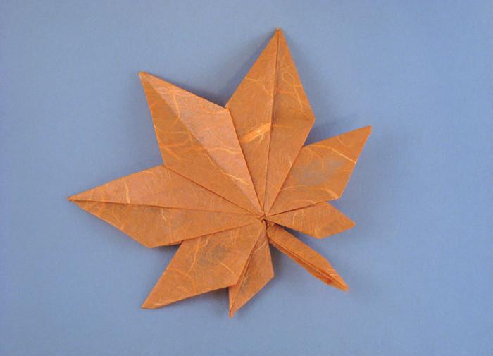"""Как из бумаги сделать лист клена.  Схема оригами  """"Кленовый лист """" ."""
