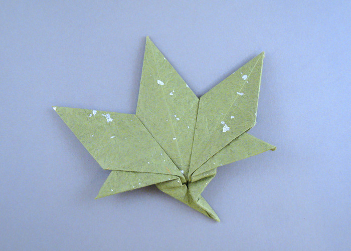 Origami Maple leaf by Roman Diaz Folded from a square of momigami by Gilad Aharoni on giladorigami.com