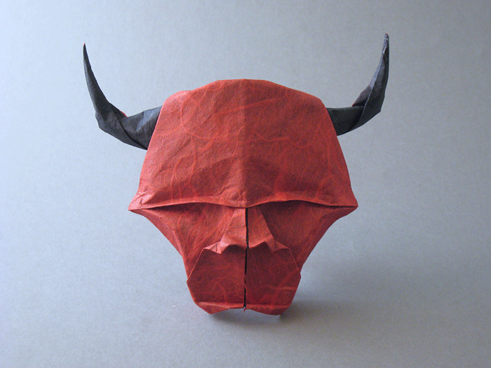 Origami Minotaur head by Gilad Aharoni Folded from a square of double-sided Unryu paper by Gilad Aharoni on giladorigami.com