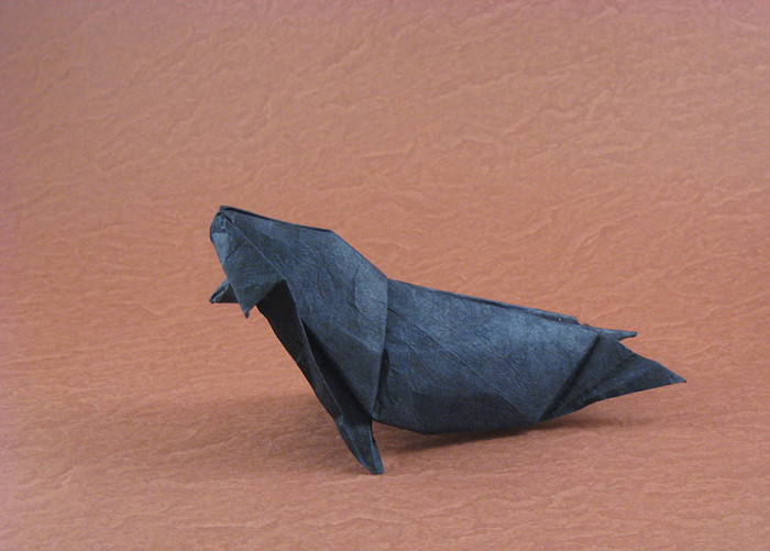 Origami Monk Seal by Michael G. LaFosse Wet-folded from a square of Lokta by Gilad Aharoni on giladorigami.com