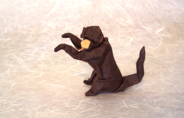Origami Monkey by Lionel Albertino Wet-folded from a square of duo mulberry paper by Gilad Aharoni on giladorigami.com