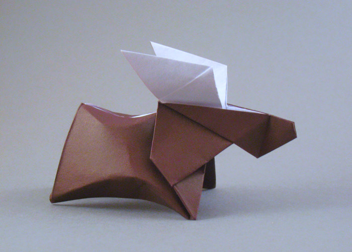 Origami Moose by Fumiaki Kawahata Folded from a square of origami paper by Gilad Aharoni on giladorigami.com