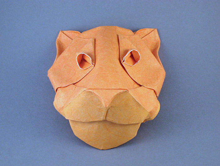 Origami Panther mask by Michael G. LaFosse Wet-folded from a square of double-sided mulberry paper by Gilad Aharoni on giladorigami.com