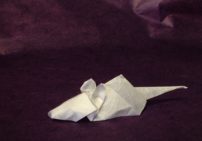 Origami Mouse by Mizuno Ken Folded from a square of rice paper by Gilad Aharoni on www.giladorigami.com
