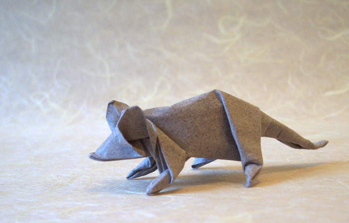 Origami Mouse by John Montroll folded by Gilad Aharoni