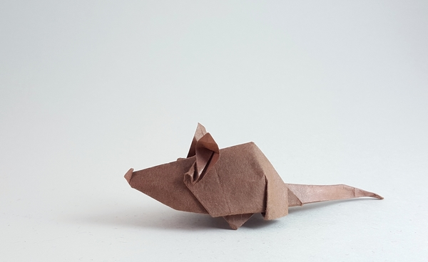 Origami Mouse by Angel Morollon Guallar Folded from a square of Migei Washi paper by Gilad Aharoni on giladorigami.com