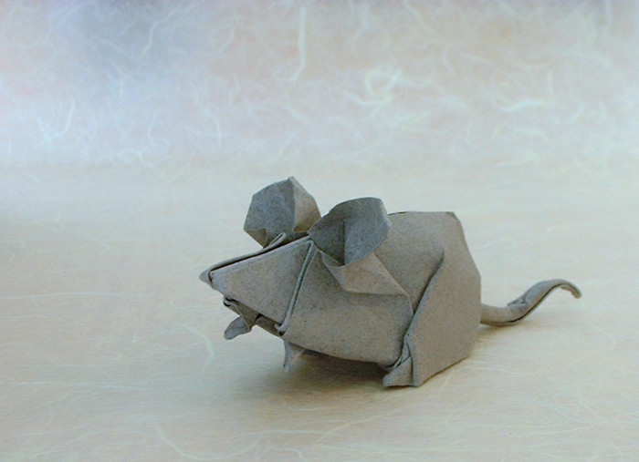 Origami Mouse by Makoto Yamaguchi Wet-folded from a square of 160gsm Canson art paper by Gilad Aharoni on giladorigami.com