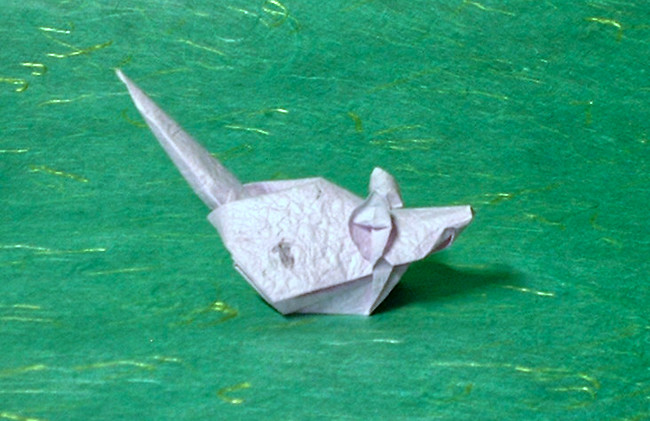 Origami Mouse by Akira Yoshizawa Folded from a square of momigami by Gilad Aharoni on giladorigami.com