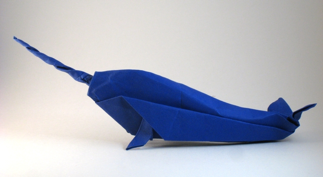 Origami Narwhal by John Montroll Folded from a square of cardstock by Gilad Aharoni on giladorigami.com