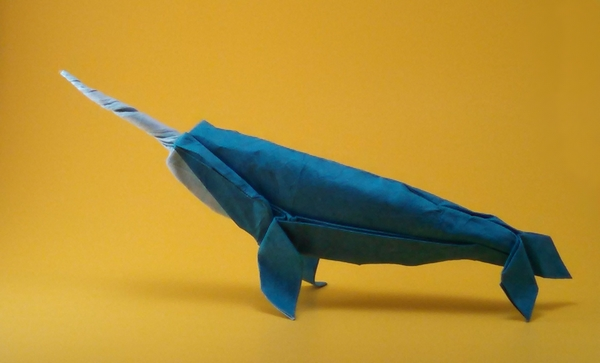 Origami Narwhal by John Szinger Wet folded from a square of double-sided mulberry paper by Gilad Aharoni on giladorigami.com