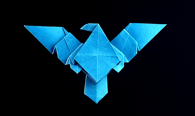 Origami Nightwing symbol by John Montroll Folded from a square of Satogami paper by Gilad Aharoni on giladorigami.com