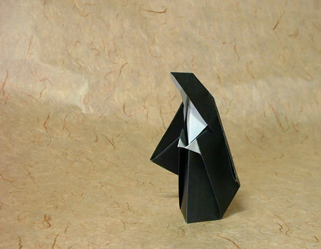 Origami Nun by Kunihiko Kasahara Folded from a square of origami paper by Gilad Aharoni on giladorigami.com