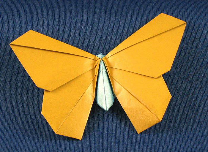 Origami Butterfly by Michael G. LaFosse Folded from a square of duo-pearl origami paper by Gilad Aharoni on giladorigami.com