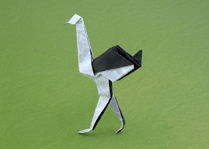 Origami Ostrich by Ryo Aoki Folded from a square of double-sided Unryu paper by Gilad Aharoni on giladorigami.com