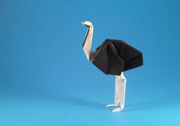 Origami Ostrich by Kunihiko Kasahara Folded from a square of double sided Unryu by Gilad Aharoni on giladorigami.com