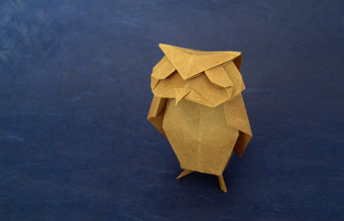 Origami Scops owl by Tsuda Yoshio Folded from a square of thin wrapping paper by Gilad Aharoni on giladorigami.com