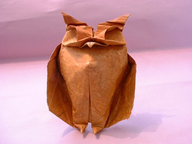 Origami Owl by Jozsef Zsebe Folded from a square of tissue-foil by Gilad Aharoni on giladorigami.com