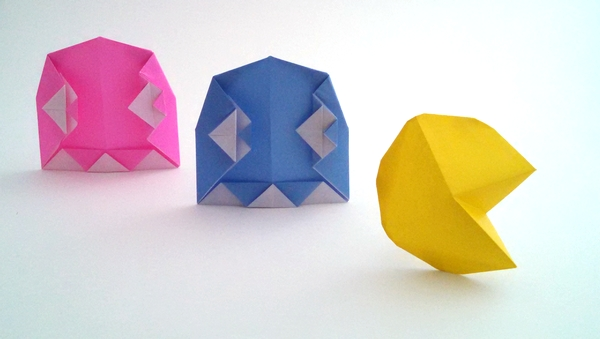 Origami Pac man ghost by Juston Hairgrove folded by Gilad Aharoni