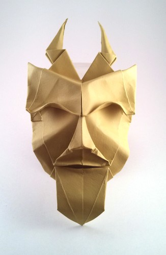 Origami Pan mask by Kunihiko Kasahara Wet-folded from a square of art paper by Gilad Aharoni on giladorigami.com