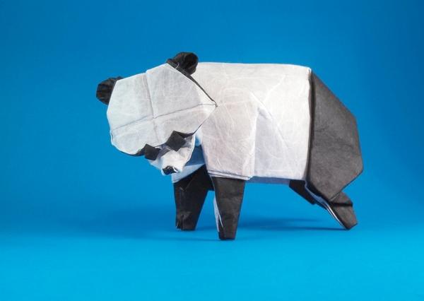 Origami Panda by Steven Casey Folded from a square of double-sided Unryu by Gilad Aharoni on giladorigami.com