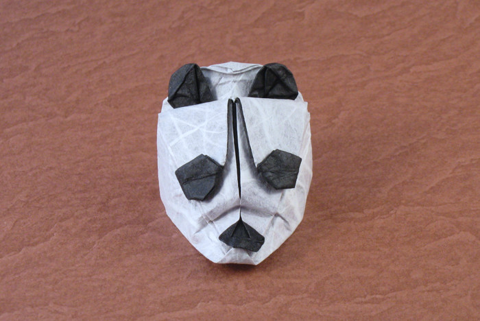 Origami Panda mask by Max Hulme Folded from a square of double-sided Unryu paper by Gilad Aharoni on giladorigami.com