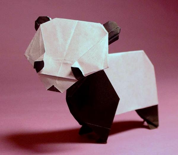 Origami diagram of the panda | 522x600