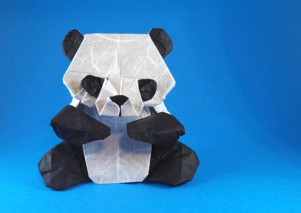 Origami Panda by Marc Kirschenbaum Folded from a square of double-sided Unryu by Gilad Aharoni on giladorigami.com