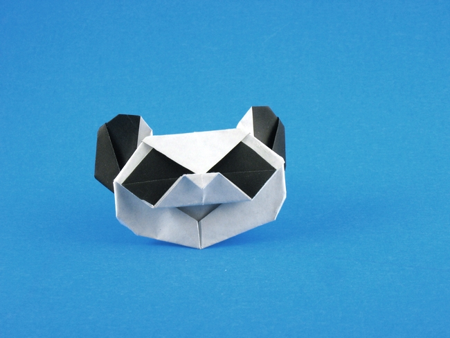 Origami Panda head by Edward Megrath Folded from a square of origami paper by Gilad Aharoni on giladorigami.com