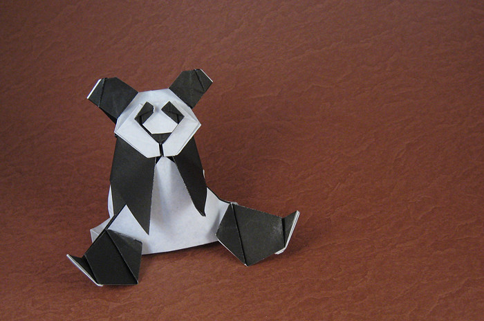 Origami Panda by Miyajima Noboru Folded from a square of origami paper by Gilad Aharoni on giladorigami.com
