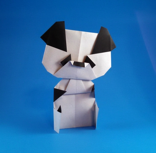 Origami Panda by Satoshi Takagi Folded from 2 squares of origami paper by Gilad Aharoni on giladorigami.com
