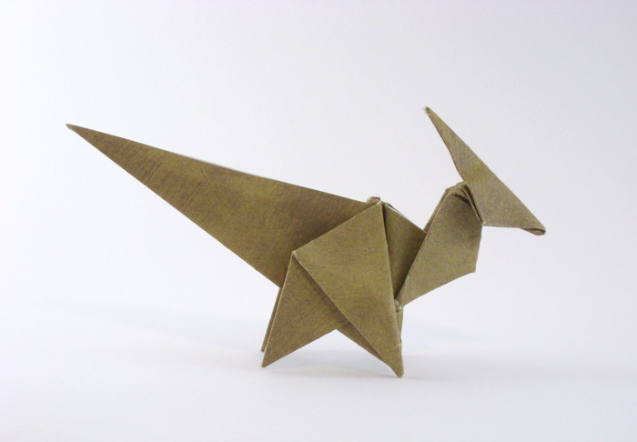 Origami Parasaurolophus by Donya Quick Folded from a square of