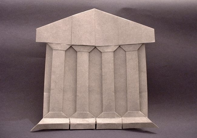 Origami Parthenon by Jim Weinrich Folded from a square of elephant-hide by Gilad Aharoni on giladorigami.com