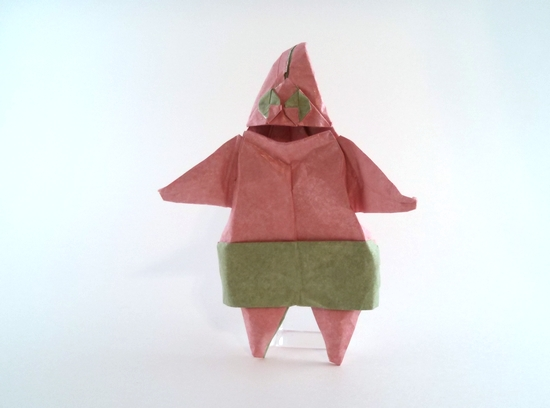 Origami Patrick Star (from Spongebob) by Fernando Gilgado Gomez Folded from a square of Kathy Stevick's tissue-foil by Gilad Aharoni on giladorigami.com