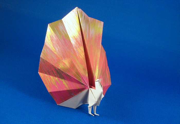 Origami Peacock by Edwin Corrie Folded from a square of decorative origami paper by Gilad Aharoni on giladorigami.com