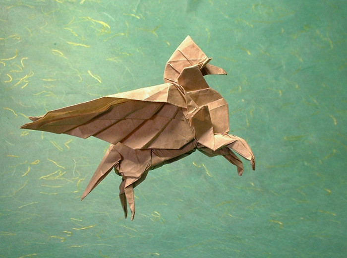 Origami Pegasus 2002 by Fumiaki Kawahata folded by Gilad Aharoni on giladorigami.com