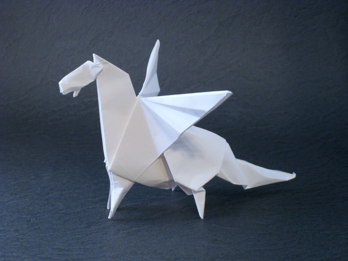 Origami Pegasus by Madiyar Amerkeshev Folded from a square of origami paper by Gilad Aharoni on giladorigami.com