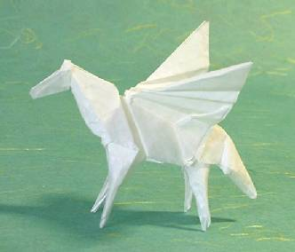 Origami Pegasus by Steven Casey Folded from a square of Alabaster paper by Gilad Aharoni on giladorigami.com