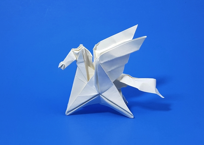 Origami Pegasus by Paul Frasco Wet folded from a square of paper provided in the kit by Gilad Aharoni on www.giladorigami.com