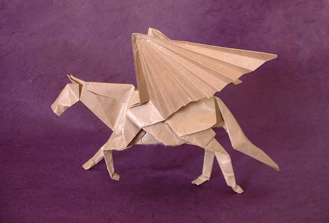 Origami Pegasus by Satoshi Kamiya folded by Gilad Aharoni on giladorigami.com