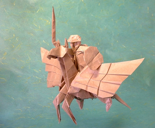 Origami Pegasus with knight by Miyajima Noboru Folded from a square of thin brown wrapping paper by Gilad Aharoni on giladorigami.com