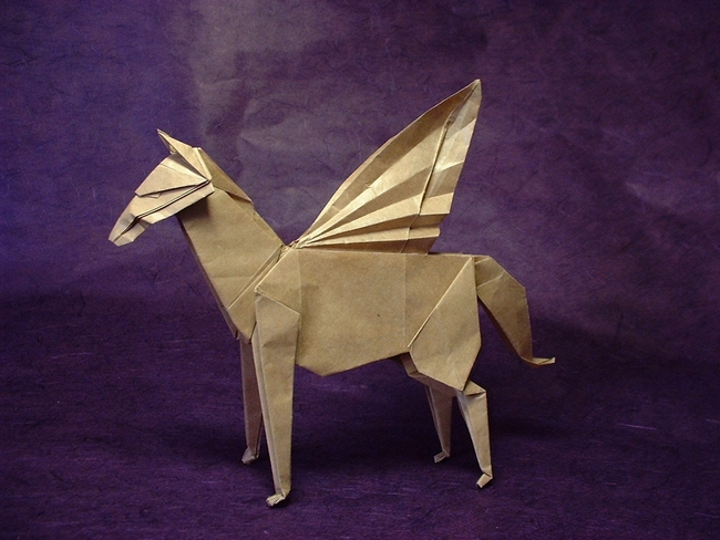 Origami Pegasus by John Montroll Folded from a square of thin brown wrapping paper by Gilad Aharoni on giladorigami.com