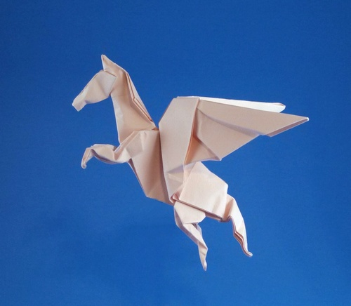 Origami Pegasus by John Montroll Folded from a square of Tant paper by Gilad Aharoni on giladorigami.com
