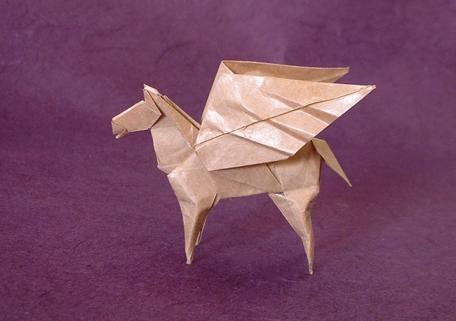 Origami Pegasus by Seiji Nishikawa Folded from a square of thin brown wrapping paper by Gilad Aharoni on giladorigami.com