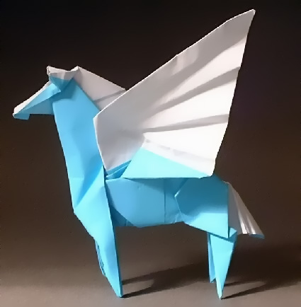 Origami Pegasus by Hojyo Takashi Folded from a square of kami by Gilad Aharoni on giladorigami.com