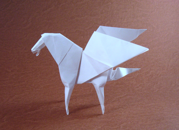 Origami Pegasus by Stephen Weiss Folded from a square of origami paper by Gilad Aharoni on giladorigami.com
